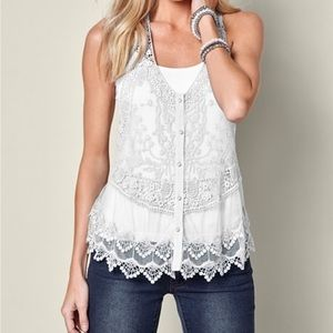 NWOT-White lace top